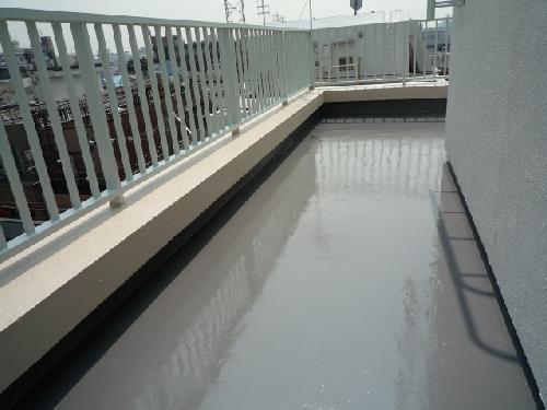 ビルの手すり塗装・床防水工事